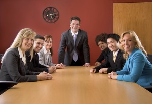 Church officers and directors at a meeting